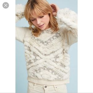 Amadi Anthropologie Faux Fur Sweater XSmall
